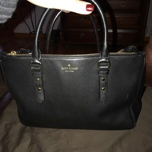 Black leather Kate Spade tote bag